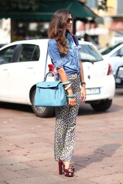 Women S Blue Denim Shirt Grey Geometric Skinny Pants Burgundy Leather Heeled Sandals Light Tote Bag Fashion