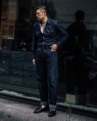 Dark Blue Stretch Denim Jaimy Straight Leg Jeans