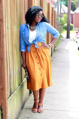 How to wear: light blue denim shirt, white tank, orange pleated midi skirt, tan leather heeled sandals
