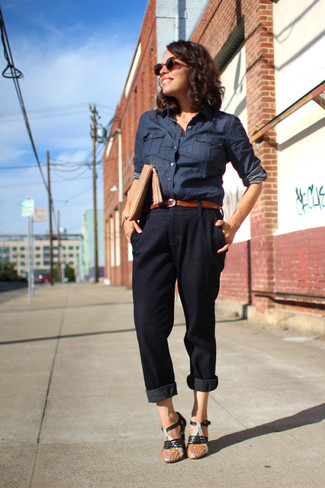 How to wear: navy denim shirt, black tapered pants, black leather heeled sandals, beige leather clutch