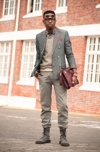 How to wear: grey wool double breasted blazer, beige cable sweater, navy print long sleeve shirt, brown wool dress pants