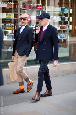 How to Wear Tan Leather Chelsea Boots For Men: For an ensemble that's street-style-worthy and effortlessly classy, pair a navy double breasted blazer with navy chinos. Our favorite of a variety of ways to round off this ensemble is with a pair of tan leather chelsea boots.