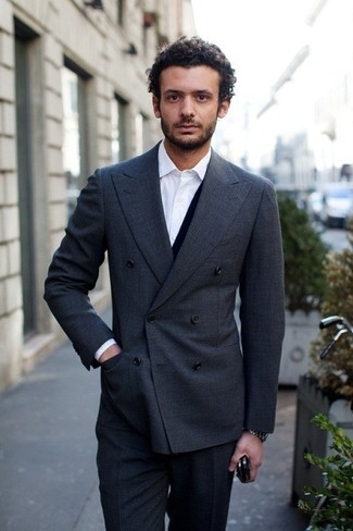 How to wear: charcoal double breasted blazer, navy cardigan, white dress shirt, charcoal dress pants