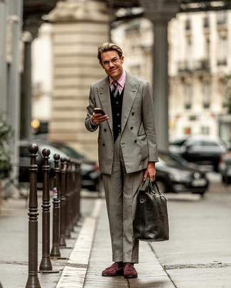 How to wear: grey double breasted blazer, black cardigan, pink dress shirt, grey dress pants