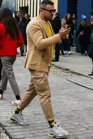 Multi colored Socks Outfits For Men: Consider wearing a tan wool double breasted blazer and multi colored socks to assemble a truly dapper and current laid-back ensemble. Send an otherwise mostly classic ensemble in a less formal direction by rounding off with light blue athletic shoes.