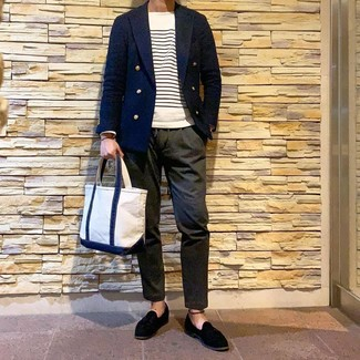 How to wear: navy double breasted blazer, white and navy horizontal striped crew-neck sweater, olive chinos, black suede tassel loafers