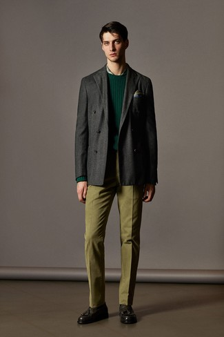 How to wear: charcoal wool double breasted blazer, dark green crew-neck sweater, green plaid dress shirt, olive dress pants