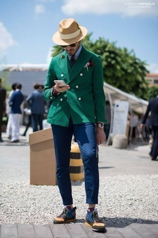 How to Wear a Burgundy Pocket Square: This pairing of a dark green double breasted blazer and a burgundy pocket square is well-executed and yet it's relaxed enough and ready for anything. A pair of multi colored athletic shoes effortlessly dials up the appeal of this outfit.