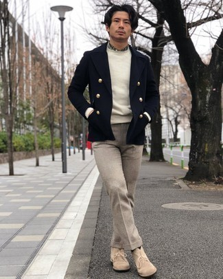 Beige Suede Desert Boots Outfits: Dress in a navy wool double breasted blazer and beige wool dress pants if you're going for a proper, dapper ensemble. Dress down this outfit with a pair of beige suede desert boots.