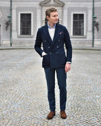 Beige Crew-neck Sweater Outfits For Men: Pairing a beige crew-neck sweater and navy dress pants will create a confident, rugged silhouette. Add a pair of brown suede loafers to the mix and the whole look will come together brilliantly.