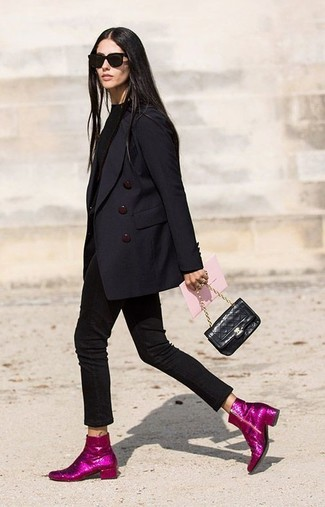 How to wear: black double breasted blazer, black crew-neck sweater, black skinny jeans, hot pink sequin ankle boots