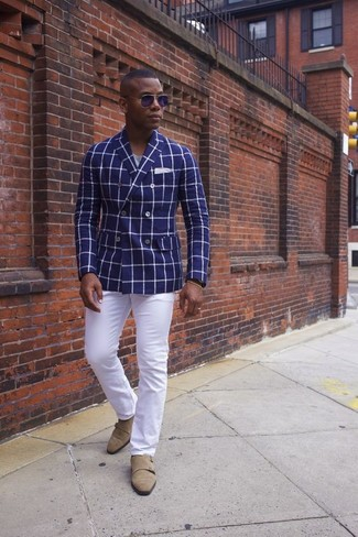 How to wear: blue check double breasted blazer, grey crew-neck t-shirt, white chinos, tan suede double monks