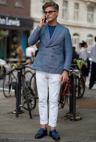 Men's Looks & Outfits: What To Wear In 2020: A light blue check double breasted blazer and white chinos teamed together are a perfect match. Go ahead and introduce a pair of blue leather monks to the equation for an extra touch of class.