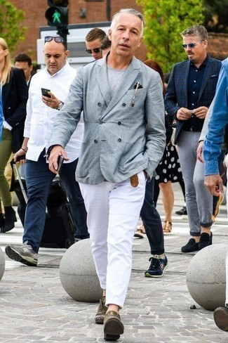 How to Wear Dress Shoes For Men: This semi-casual combo of a grey double breasted blazer and white chinos is very easy to throw together in seconds time, helping you look awesome and prepared for anything without spending too much time rummaging through your closet. Introduce dress shoes to the equation for an instant style lift.