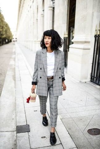 How to wear: grey plaid double breasted blazer, white crew-neck t-shirt, grey plaid dress pants, black leather derby shoes