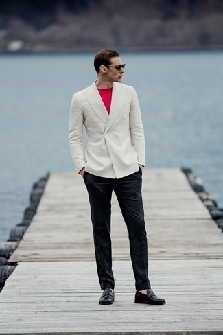How to Wear a White Double Breasted Blazer For Men: For polished style with a modernized spin, opt for a white double breasted blazer and black dress pants. Does this look feel all-too-polished? Enter a pair of black leather loafers to spice things up.