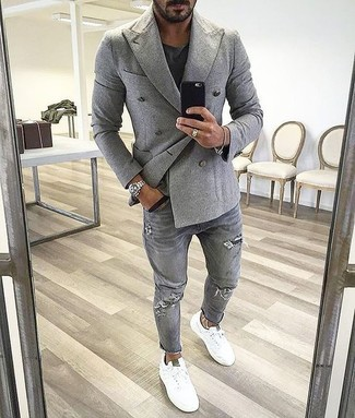 Men's Grey Double Breasted Blazer, Black Crew-neck T-shirt, Grey Ripped Jeans, White Low Top Sneakers