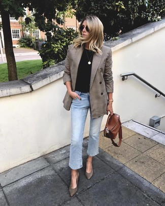 Rock a brown plaid double breasted blazer with light blue jeans for an effortless kind of elegance. For footwear, go down the classic route with Givenchy Suede Pointed Toe Pumps. We're loving this one, especially for springtime.