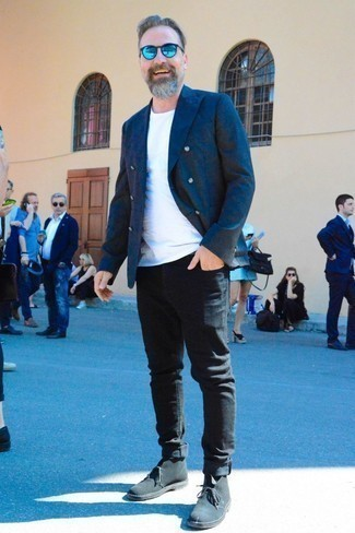 How to Wear a Navy Double Breasted Blazer For Men: For an outfit that's worthy of a modern style-conscious guy and casually sleek, consider pairing a navy double breasted blazer with black jeans. Round off with black suede desert boots to add a confident kick to the look.