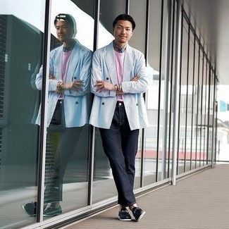 Bandana Outfits For Men: This casual combo of a light blue double breasted blazer and a bandana is perfect when you need to look casually cool but have zero time to dress up. Introduce a pair of navy leather loafers to the mix to take things up a notch.