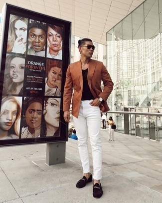 Dark Brown Suede Loafers Outfits For Men: You're looking at the undeniable proof that a tobacco double breasted blazer and white jeans look awesome when paired up. Add dark brown suede loafers to your look for a hint of elegance.