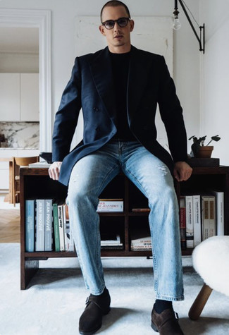 Navy Double Breasted Blazer Outfits For Men: To don a laid-back getup with a modernized spin, you can easily go for a navy double breasted blazer and light blue ripped jeans. For something more on the smart end to complete your look, complete this look with a pair of dark brown suede monks.