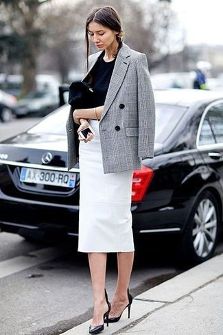 Consider pairing a grey check double breasted blazer with a white pencil skirt for a sleek elegant look. Round off this look with black leather pumps.