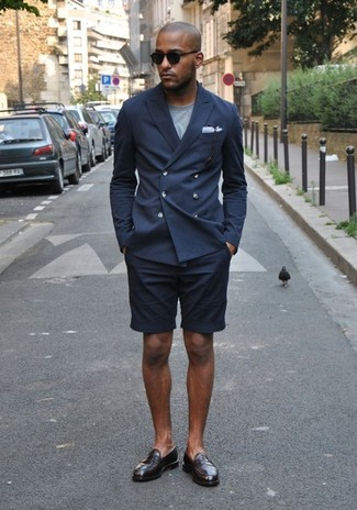 Men's Navy Double Breasted Blazer, Grey Crew-neck T-shirt, Navy Shorts, Brown Leather Loafers