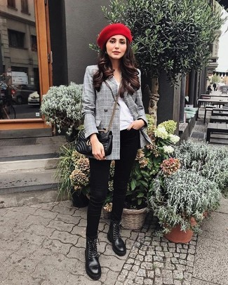 How to Wear a Beret: Wear a grey plaid double breasted blazer with a beret to pull together a casual yet stylish getup. The whole look comes together quite nicely when you complete this getup with a pair of black leather lace-up flat boots.