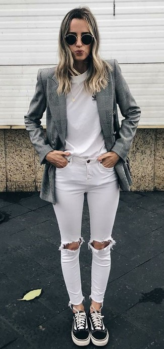 How to wear: grey plaid double breasted blazer, white crew-neck t-shirt, white ripped skinny jeans, black canvas low top sneakers
