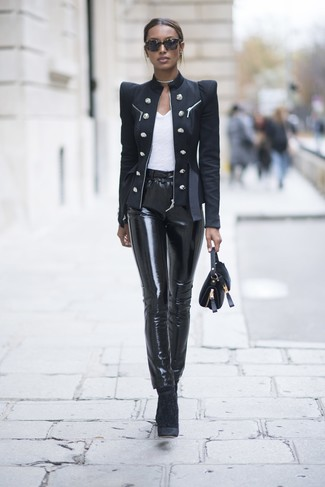 Women's Black Double Breasted Blazer, White Crew-neck T-shirt, Black Leather Skinny Pants, Black Velvet Ankle Boots