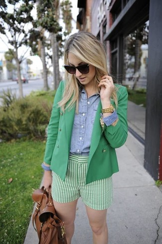 How to wear: green double breasted blazer, light blue denim shirt, green vertical striped shorts, brown leather backpack