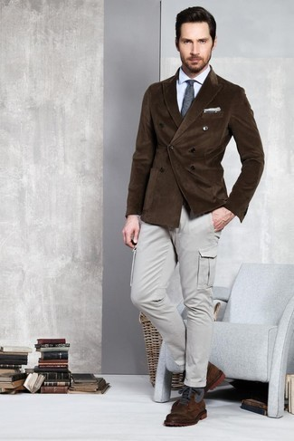 Fashion for 30 Year Old Men: What To Wear: Rock a dark brown corduroy double breasted blazer with grey cargo pants if you're aiming for a proper, on-trend ensemble. The whole look comes together perfectly if you add a pair of dark brown leather casual boots to the equation.