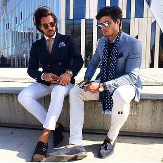 How to wear: navy double breasted blazer, light blue dress shirt, white chinos, dark brown suede double monks