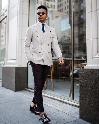e986b78fbfc0 How to wear  grey double breasted blazer, white dress shirt, black chinos,