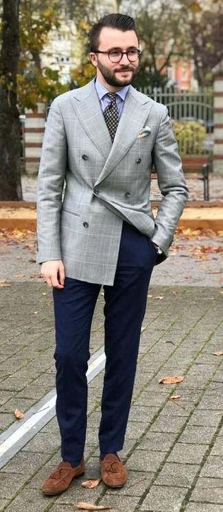 How to wear: grey check double breasted blazer, light blue vertical striped dress shirt, navy chinos, brown suede tassel loafers
