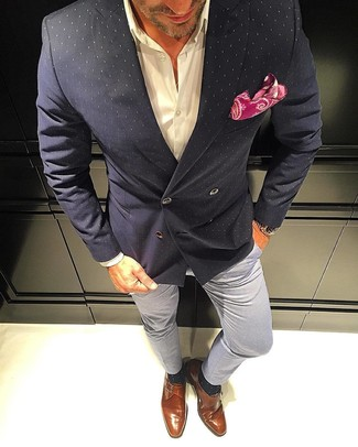 How to wear: black polka dot double breasted blazer, white dress shirt, grey chinos, tobacco leather monks