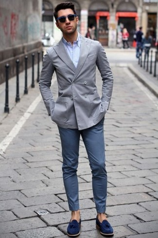How to wear: grey double breasted blazer, light blue dress shirt, navy chinos, navy suede tassel loafers