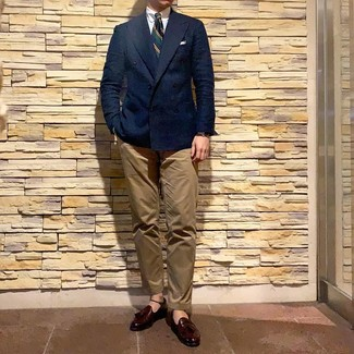 How to wear: navy double breasted blazer, white dress shirt, khaki chinos, burgundy leather tassel loafers