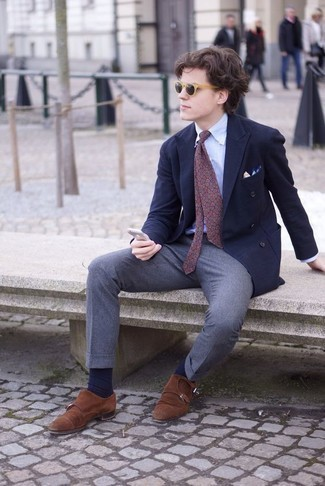 How to Wear Grey Wool Chinos: A light blue dress shirt and grey wool chinos will add classy style to your daily repertoire. You can take a classic approach with footwear and finish with a pair of tobacco suede double monks.