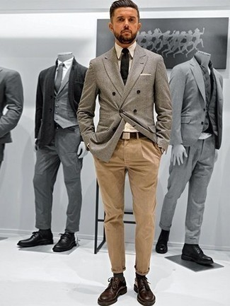 How to Wear a Beige Dress Shirt For Men: Such essentials as a beige dress shirt and khaki chinos are an easy way to introduce some rugged elegance into your off-duty routine. Go ahead and complete your ensemble with dark brown leather derby shoes for an added touch of class.