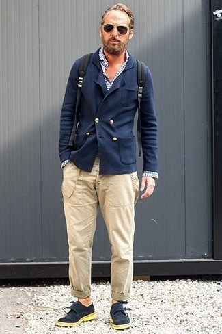 Black Backpack Outfits For Men: A navy double breasted blazer and a black backpack are a savvy look to keep in your casual styling lineup. Navy suede double monks will give an extra touch of style to an otherwise straightforward look.