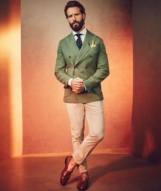 How to Wear Tobacco Leather Tassel Loafers: Consider pairing an olive double breasted blazer with beige chinos to assemble a casually stylish and modern-looking ensemble. Not sure how to finish off your outfit? Wear a pair of tobacco leather tassel loafers to ramp it up a notch.