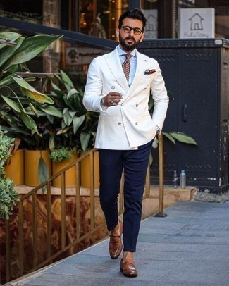 How to Wear a White Double Breasted Blazer For Men: This combination of a white double breasted blazer and navy chinos is a goofproof option when you need to look casually polished but have no time. Wondering how to finish this look? Rock a pair of brown leather loafers to smarten it up.