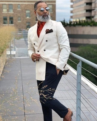 How to Wear a White Double Breasted Blazer For Men: Choose a white double breasted blazer and navy polka dot chinos and be prepared to be treated like a visionary in the menswear department. Finishing off with a pair of brown woven leather derby shoes is an easy way to inject a touch of sophistication into this outfit.