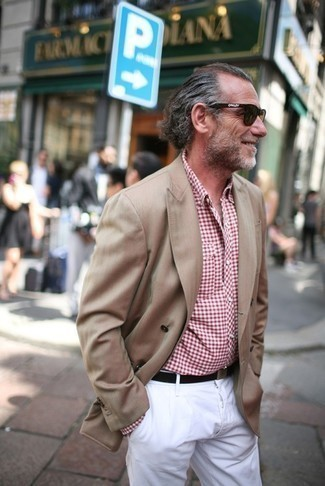 Tan Double Breasted Blazer Outfits For Men: For a casually classic look, choose a tan double breasted blazer and white chinos — these pieces play perfectly together.