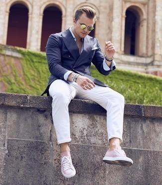 Olive Sunglasses Outfits For Men: If the situation permits a relaxed outfit, marry a navy double breasted blazer with olive sunglasses. Introduce pink suede low top sneakers to the equation and the whole look will come together.