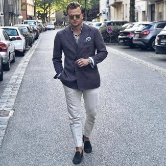 Olive Sunglasses Outfits For Men: If it's comfort and functionality that you appreciate in menswear, go for a charcoal double breasted blazer and olive sunglasses. A pair of black suede loafers can easily dress up your ensemble.