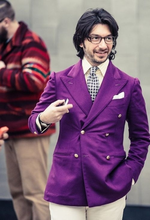 Men's Purple Double Breasted Blazer, Beige Vertical Striped Dress