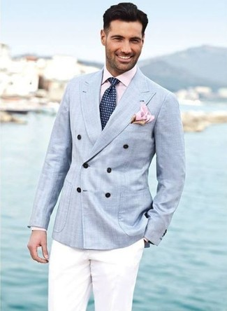 A light blue double breasted blazer and white dress pants are essential in any modern gentleman's closet.